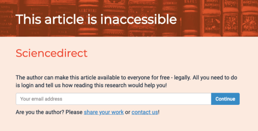 Screen when Open Access Button determines that there is no accessible version of an article