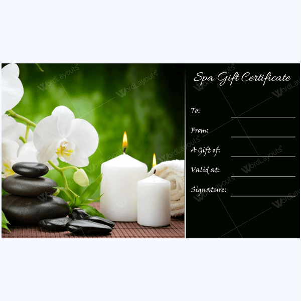 Spa Gift Certificate Word