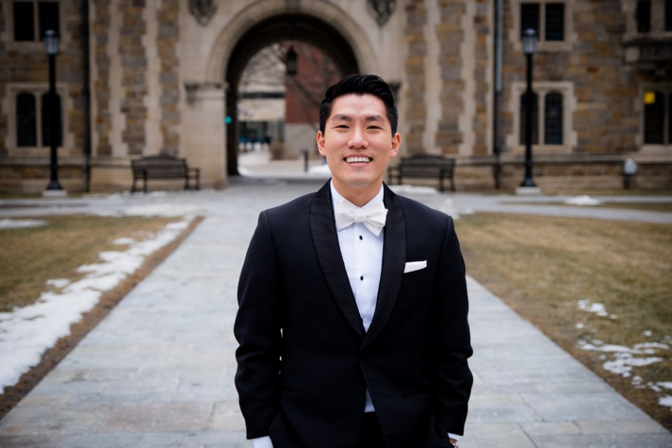 Groom in Ann Arbor Law Quad