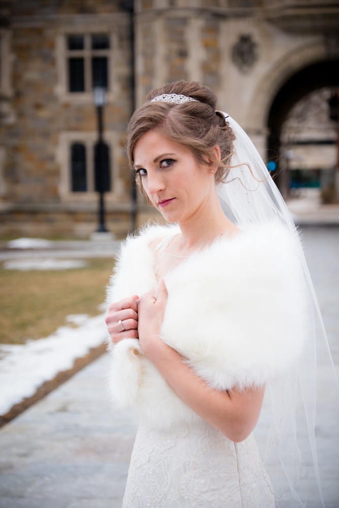 Bride waist up in Ann Arbor Law Quad