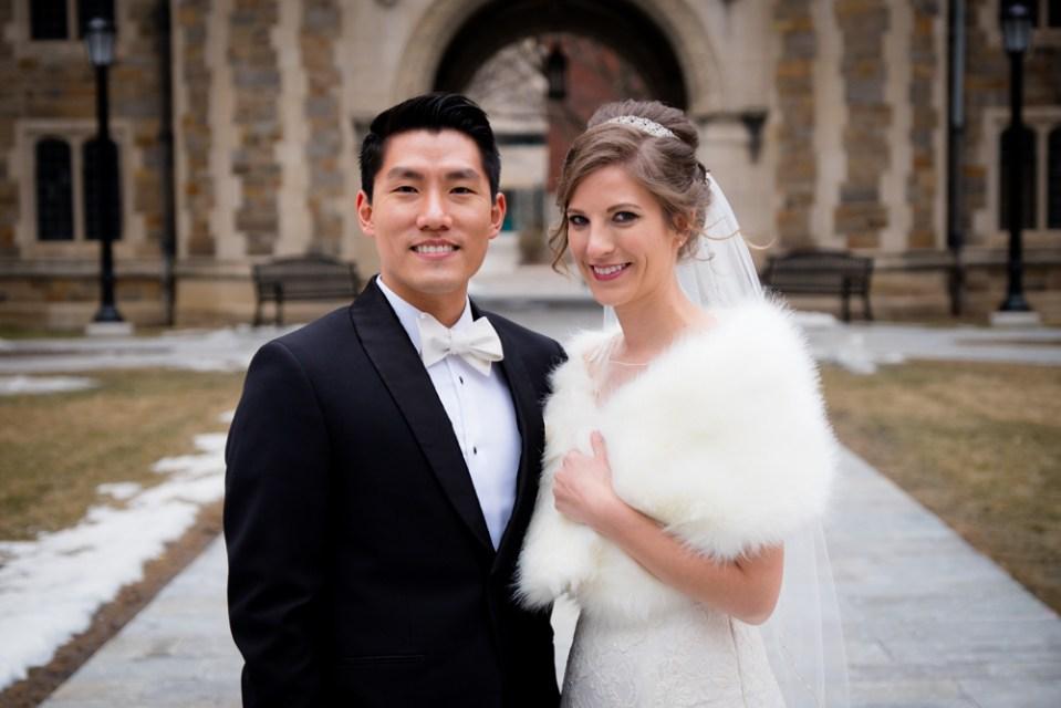 Bride and groom medium shot in Ann Arbor Law Quad