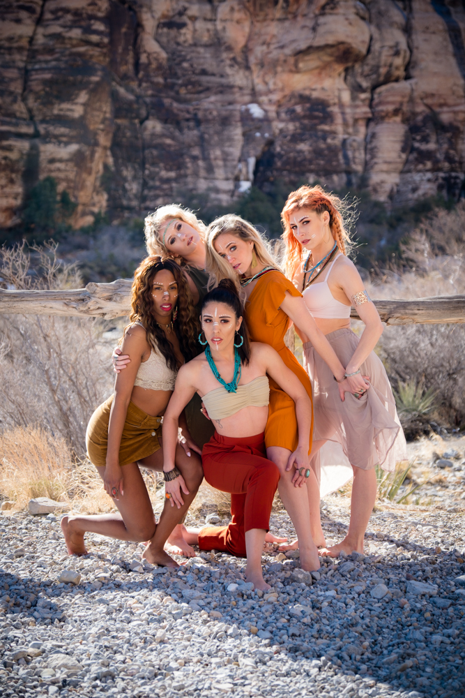 Dance crew the Vegas Bombshells stricking a pose