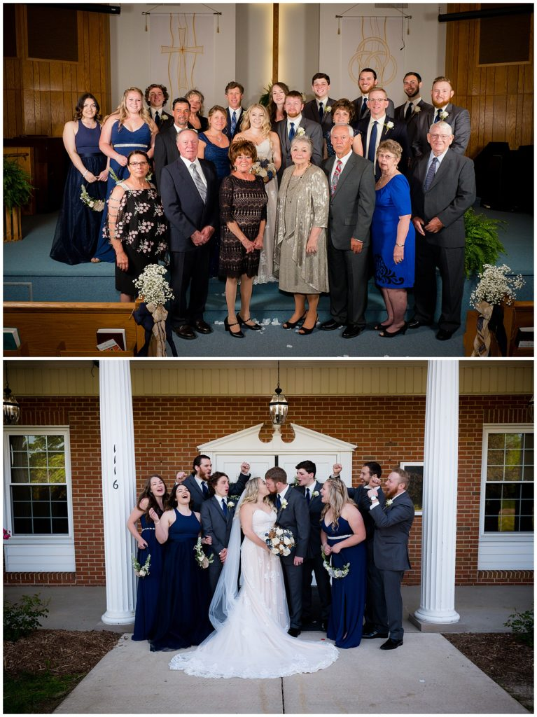 Bride and groom's family photo and the bridal party with the bride and groom.