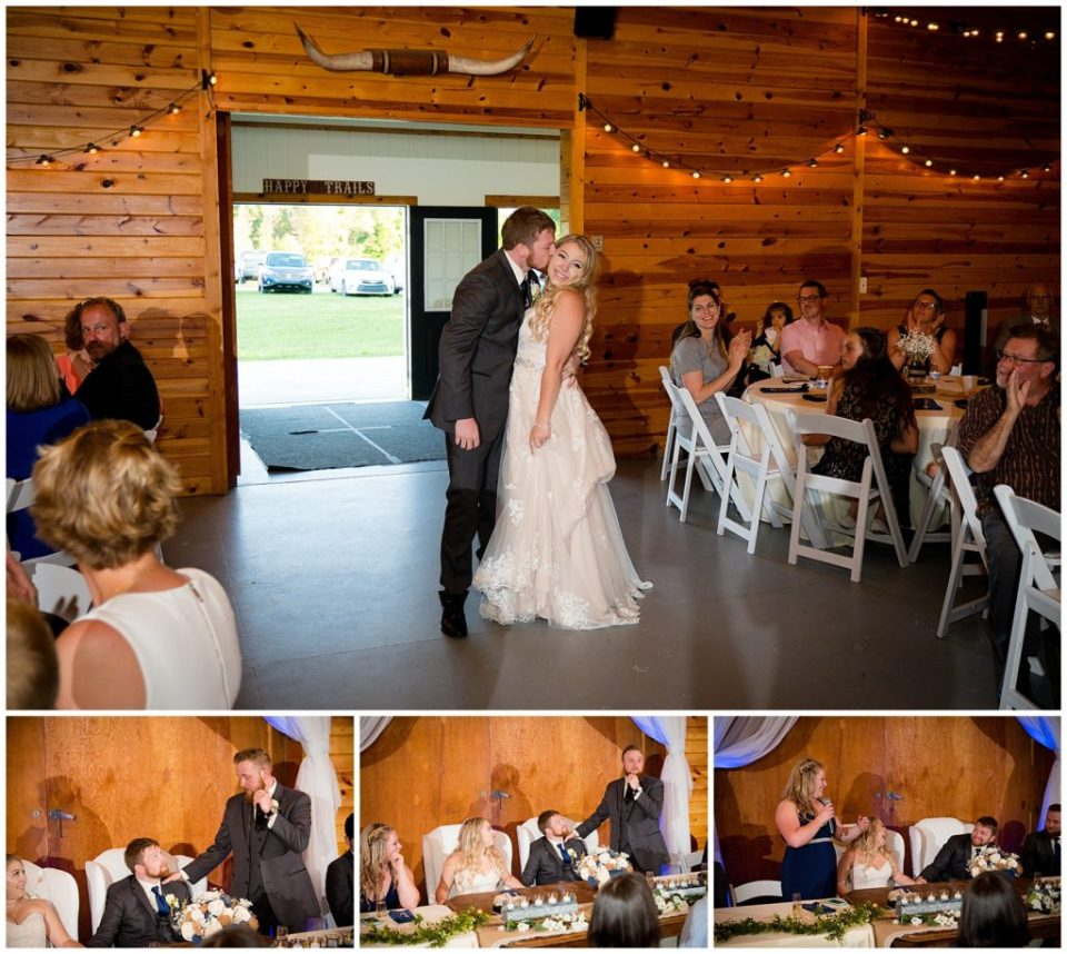 Series of 4 photos of the bride and groom grand entrance and the best man and maid of honor speeches.