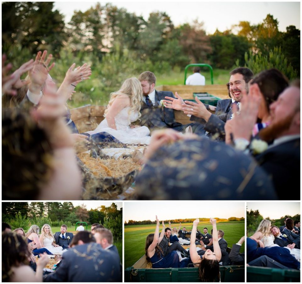 Straw ride with the bridal party and the bride and groom at the Lazy J Ranch.