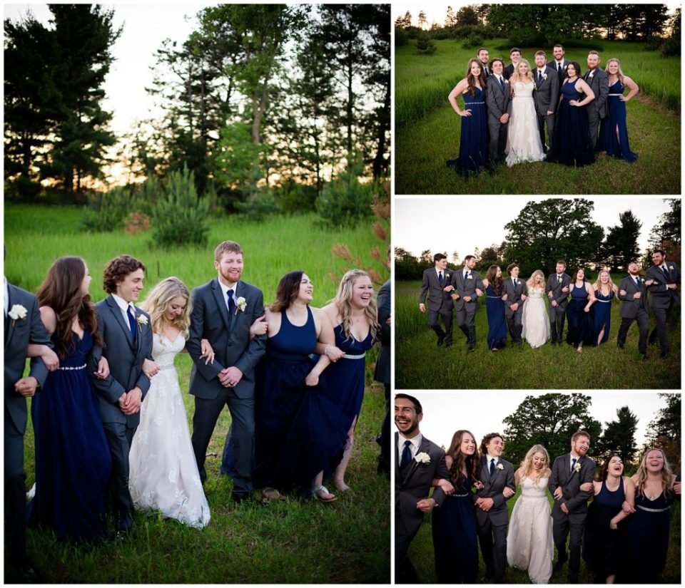 Series of 4 photos of the bridal party in a gorgeous field at sunset.