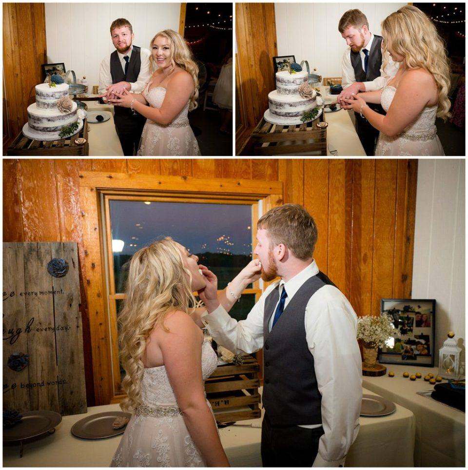 Series of 3 photos of Hannah and Brandon cutting and eating their cake.