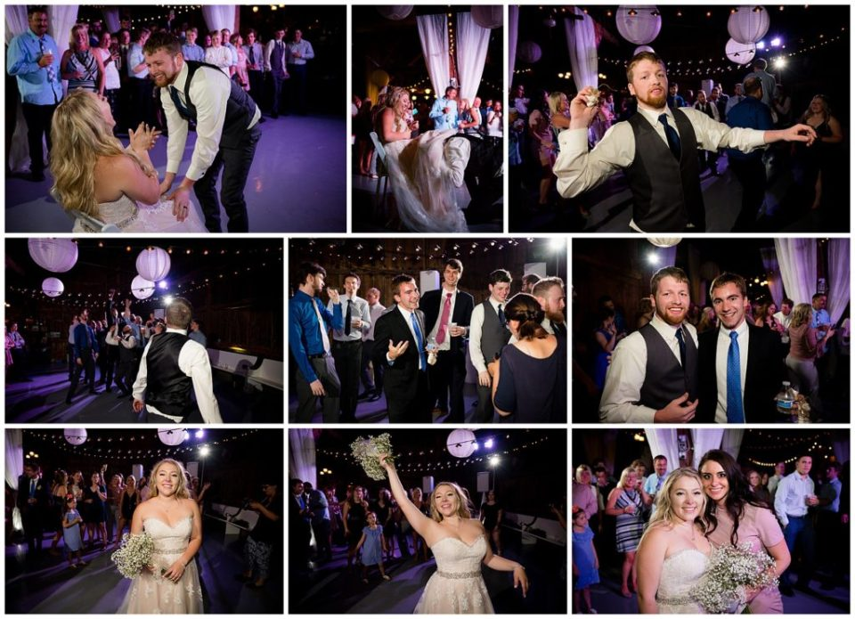 A collage of 9 photos of the garter search, garter toss and bouquet toss!
