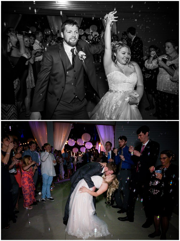 Two images of the bride and groom send off with bubbles! Top photo is in black and white, bottom is a beautiful dip with a kiss in color.