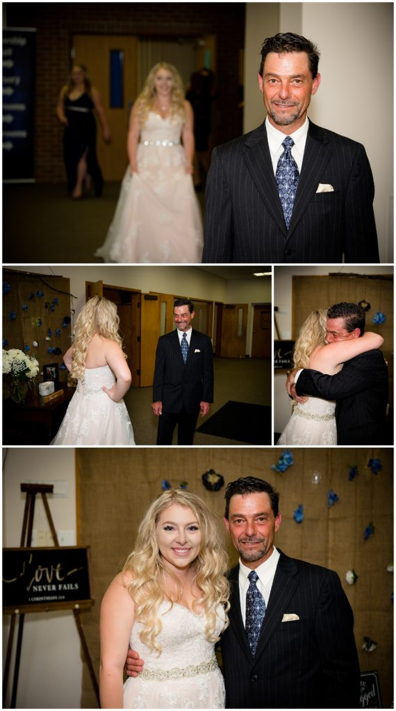 A series of 4 photos of the bride's dad seeing her for the first time. Emotional and beautiful moment between a bride and her dad crying seeing her for the first time.