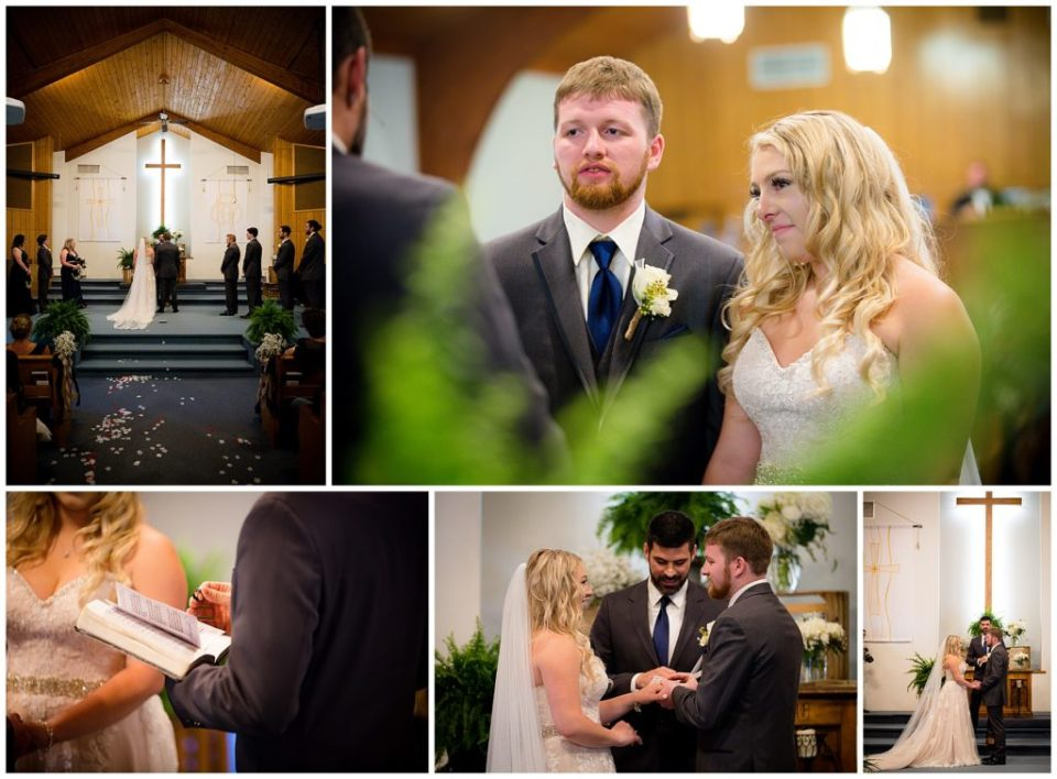 A collage of five photos of Hannah and Brandon's wedding ceremony.