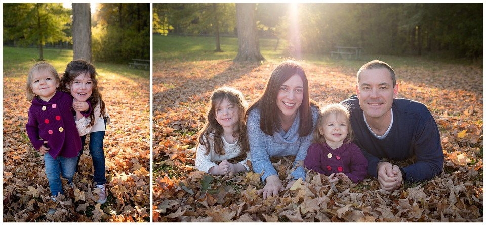 Beautiful fall golden hour family portraits with fall leaves around the whole family.