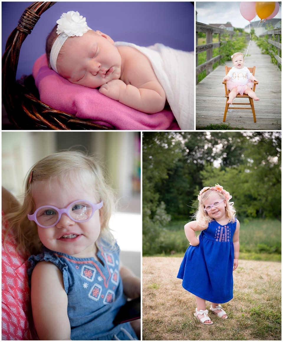 Progression of a beautiful little girl from newborn to 3 years old.