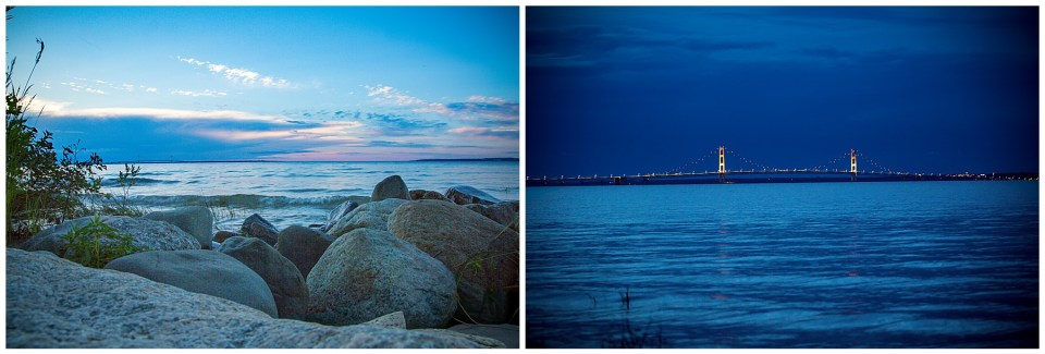 Two photos at twilight. First of some rocks at the edge of lake Huron, the second of the Mackinaw bridge lit up for night time.