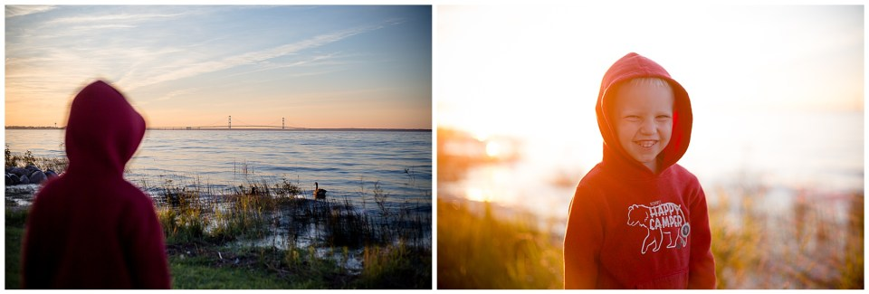 Two photos of a cute little boy at sunset. First one with the Mackinaw Bridge in focus, second photo with the little boy smiling.