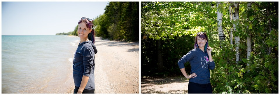 Two photos of Christy Malene, owner of Open Box photography at the beach and by birch trees.