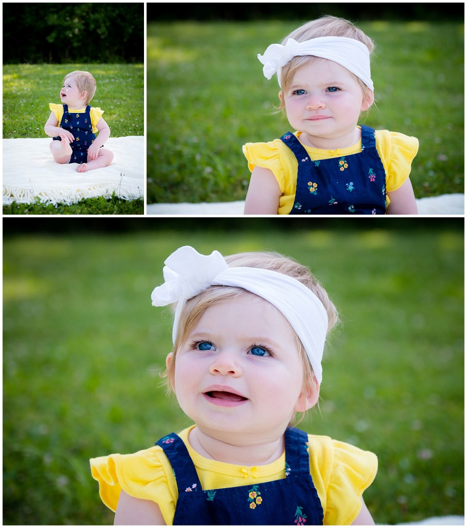 Three beautiful images of a 1 year old baby girl dressed in U of M colors.