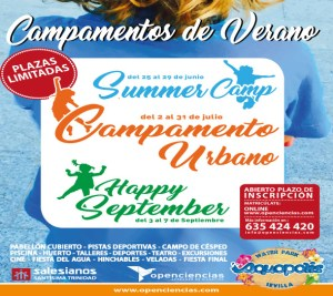cartel campamentos de verano de summer camp, campamento urbano y happy september
