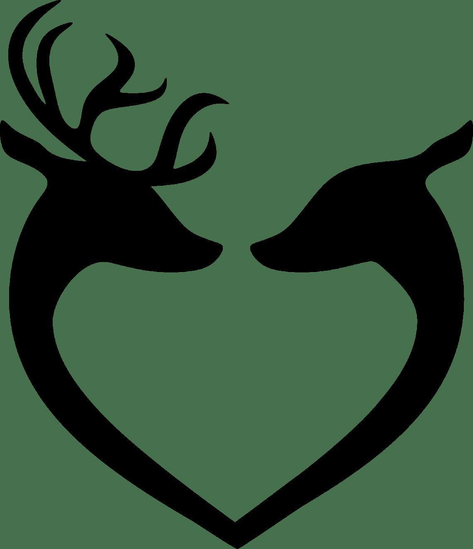 Download Clipart - Deer Couple Heart Silhouette Black