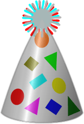 Party Hat by mi_brami - Silver plated party hat, with coloured motifs.