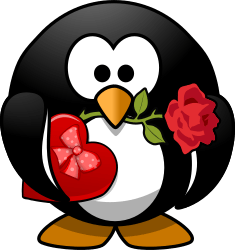 Valentine Penguin by Moini - A little penguin holding a rose in its beak and carrying a box of chocolates for his love.<br /><br /><br /> <3 dedicated to Blöki <3