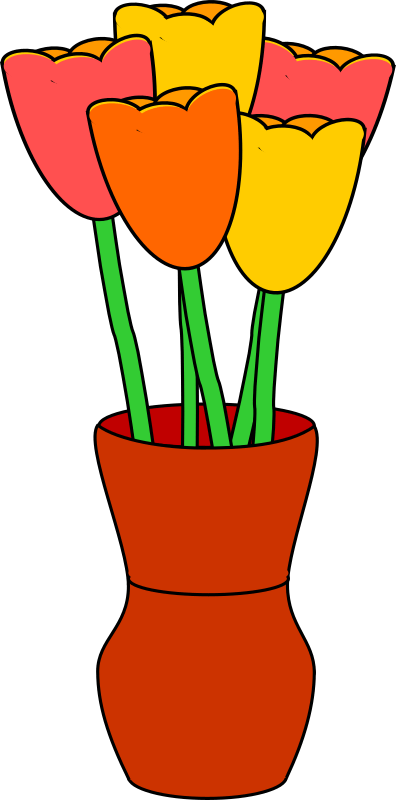 clipart brown vase with multicolored tulips