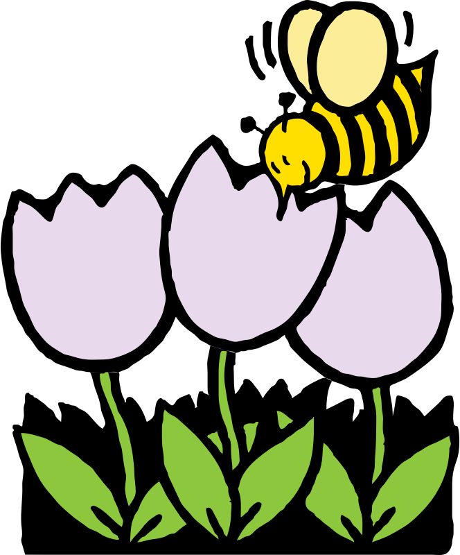 clipart bee and flowers