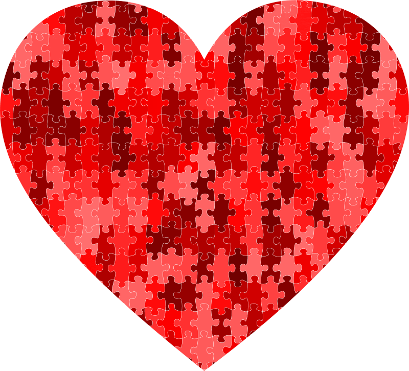 Clipart Red Puzzle Heart