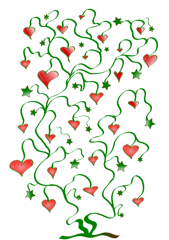 Clipart Tree Of Hearts With Leaves Of Stars