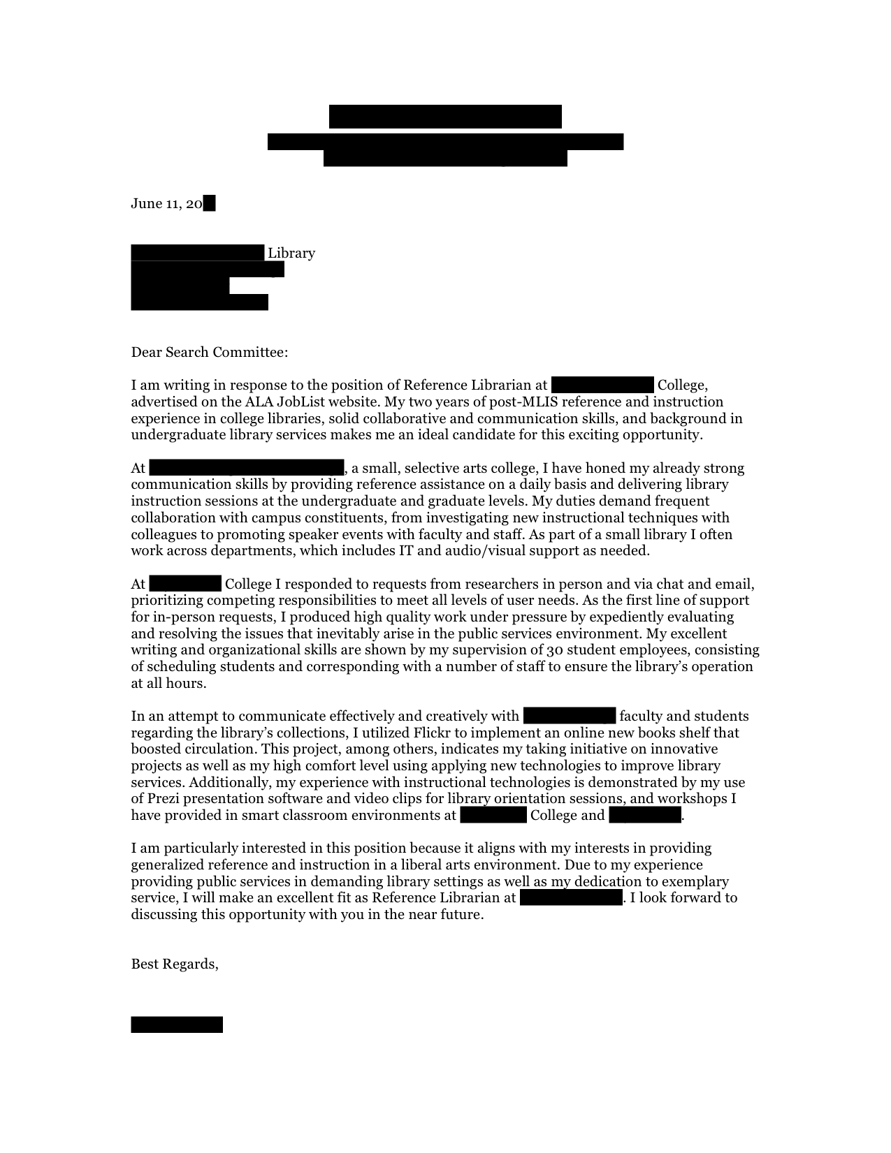 Reference Librarian Cover Letter
