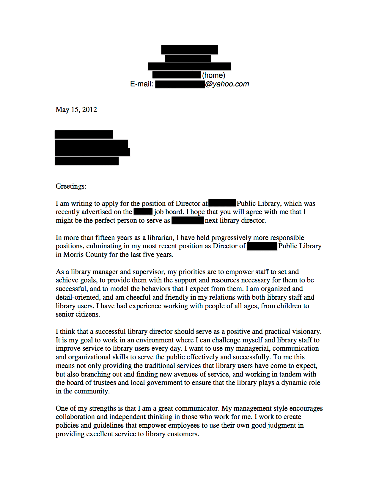 Public Library Director Cover Letter