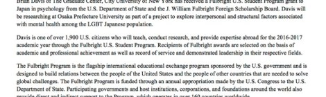 Brian Davis receives Fulbright Award