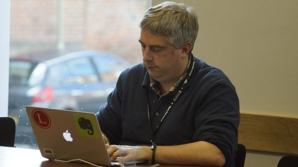 "Adam Tinworth: amazing blogger - speed, accuracy, dedication. Open Data Camp Winchester 21 Feb 2015. Image by <a href=""https://www.flickr.com/photos/sashataylor/with/15987877744/"">Sasha Taylor</a> via Flickr."