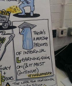 "Drawnalism illustration zoom in: ""There's a massive process of internal learning going on (and it must continue)"""