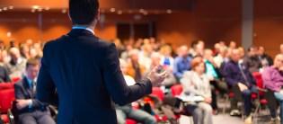 man addressing audience