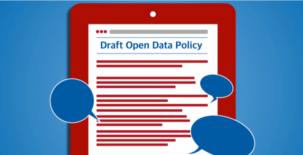 "Picture of a clipboard with ""draft open data policy"" title"