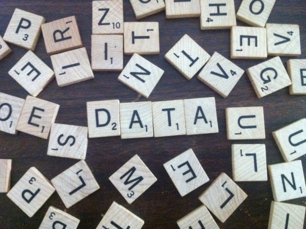 data spelled out with scrabble letters