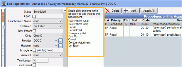 Definitions: Appointment Procs Quick Add