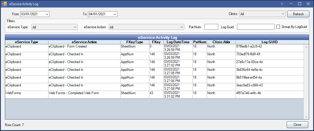 eService Activity Log