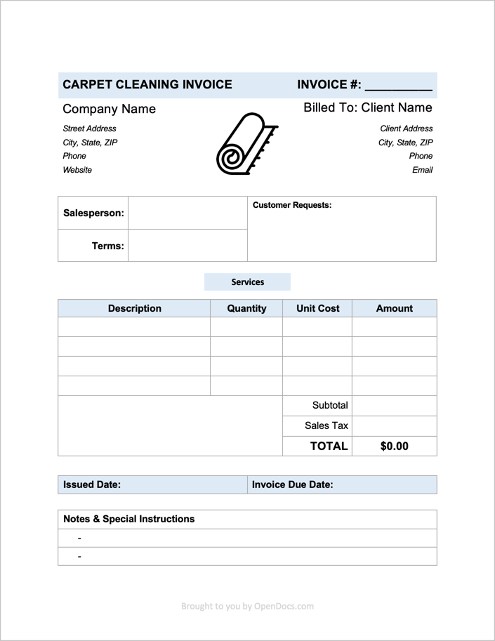 Free Carpet Cleaning Invoice Template Pdf Word Excel