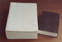 Left: Bible printed on secret printing press. Right: Bible printed in the West.