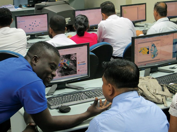 Specialists in Sri Lanka receive training on the InaSafe risk assessment platform. © World Bank