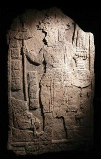 An engraving from the Mayan ruins at Tikal, believed to depict Spearthrower Owl, a presumed leader of Teotihuacan.