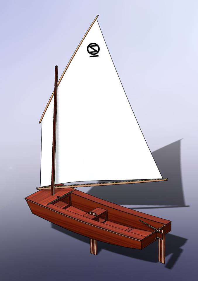 Oz Goose simple sailing dinghy hull spars and sail drawing model in CAD - opengoose.com