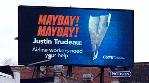 CUPE billboard for flight attendant advocacy