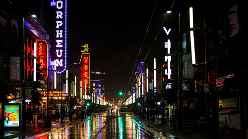 The touristy Granville Street in Vancouver.