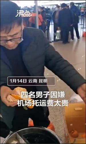 Screenshot of a video showcasing one of the travellers who ate 30 kilograms of oranges in under 30 minutes.