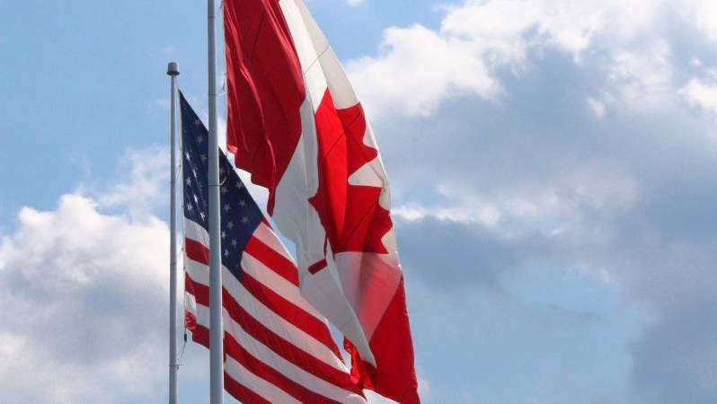 Canada and US Flags for the Border
