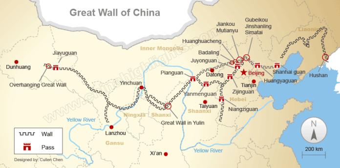 mappa grande muraglia cinese