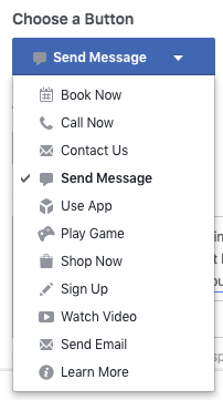 Facebook Page Call to Action CTA Button Options Screenshot
